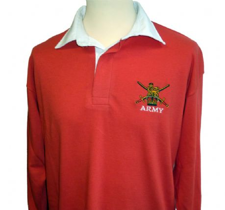 Classic Rugby Shirt, long sleeved 100% cotton shirt in red with the British army logo as standard. Add different British army regiment cap badge as required. Army verse Navy match May 16th 2015
